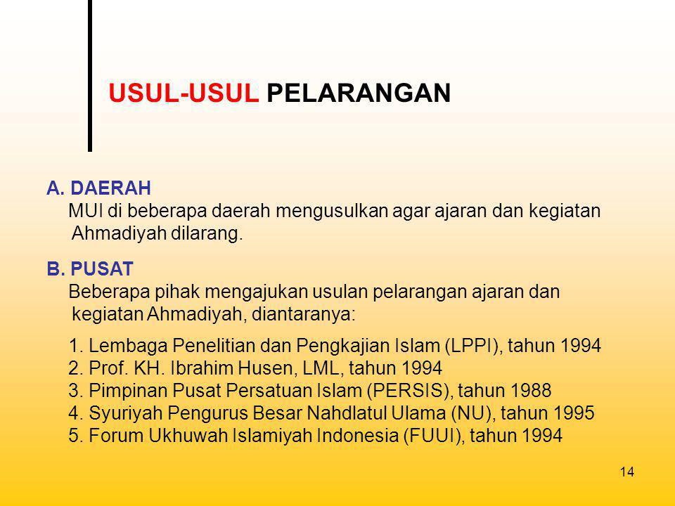 15 1.MUI Provinsi D.I. Aceh/NAD (1984) Ahmadiyah Qadian sesat dan menyesatkan 2.