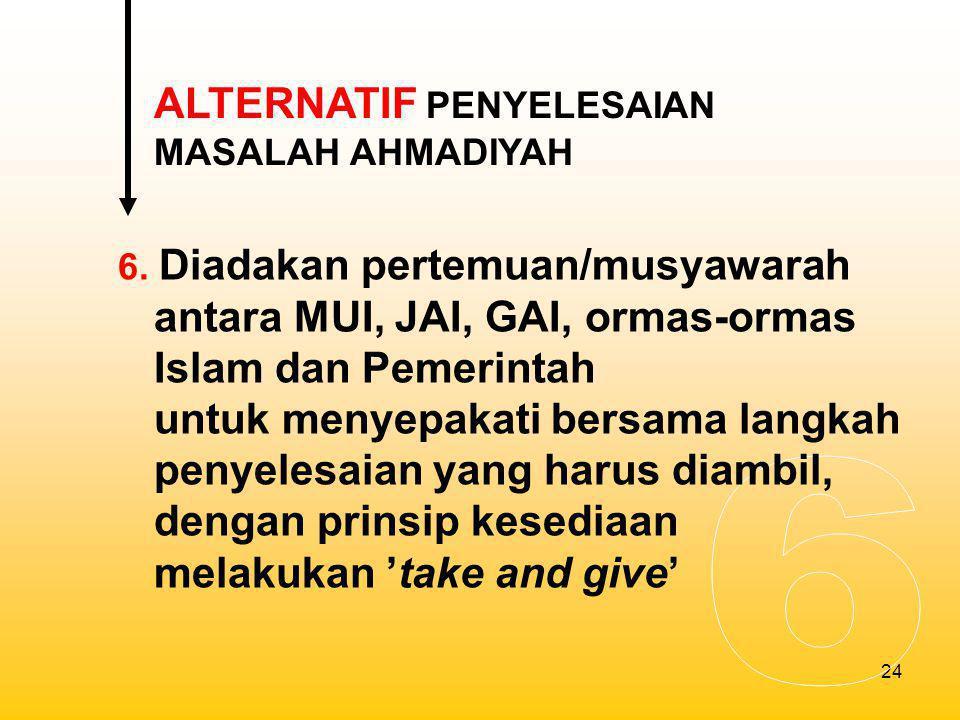 25 7.Ahmadiyah tidak dilarang, tetapi harus menghentikan segala kegiatannya.