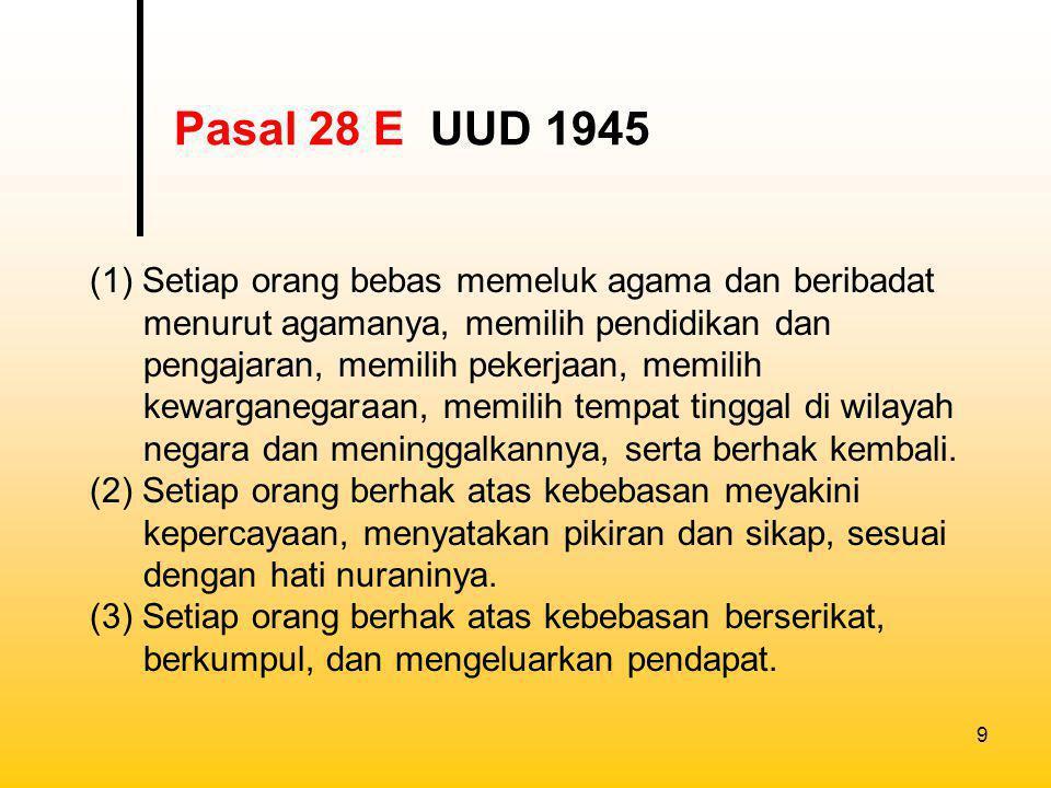 10 (1) Setiap orang wajib menghormati hak asasi manusia orang lain dalam tertib kehidupan bermasyarakat, berbangsa, dan bernegara.