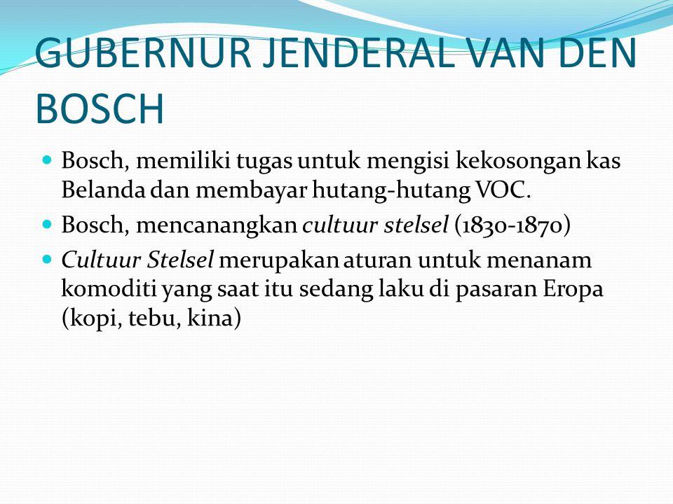GUBERNUR JENDERAL VAN DEN BOSCH Bosch, memiliki tugas untuk mengisi kekosongan kas Belanda dan membayar hutang-hutang VOC. Bosch, mencanangkan cultuur