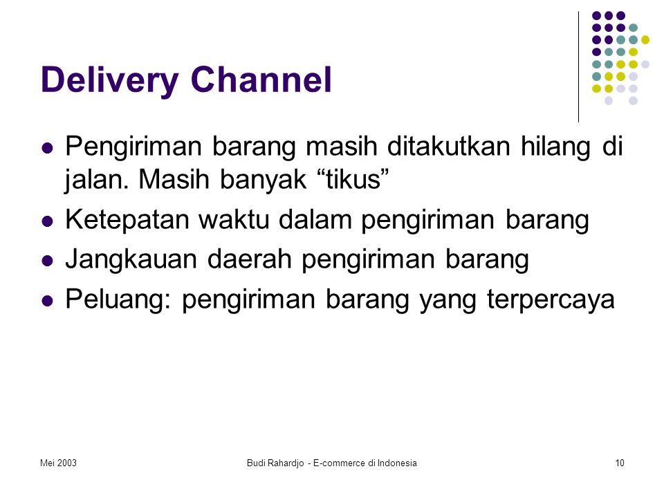 Mei 2003Budi Rahardjo - E-commerce di Indonesia10 Delivery Channel Pengiriman barang masih ditakutkan hilang di jalan.