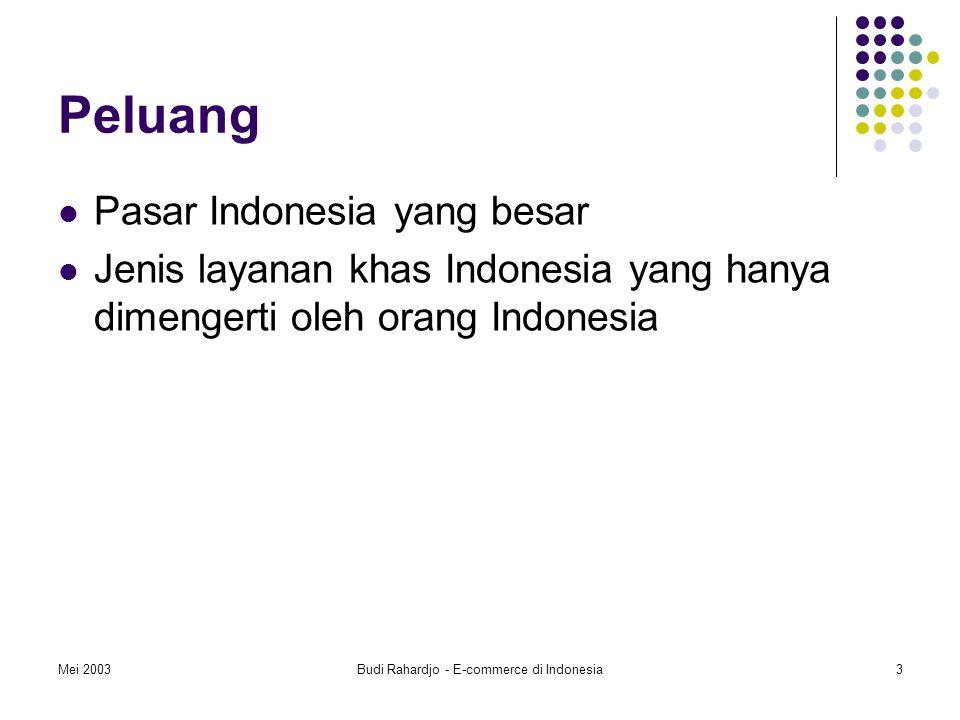 Mei 2003Budi Rahardjo - E-commerce di Indonesia3 Peluang Pasar Indonesia yang besar Jenis layanan khas Indonesia yang hanya dimengerti oleh orang Indonesia