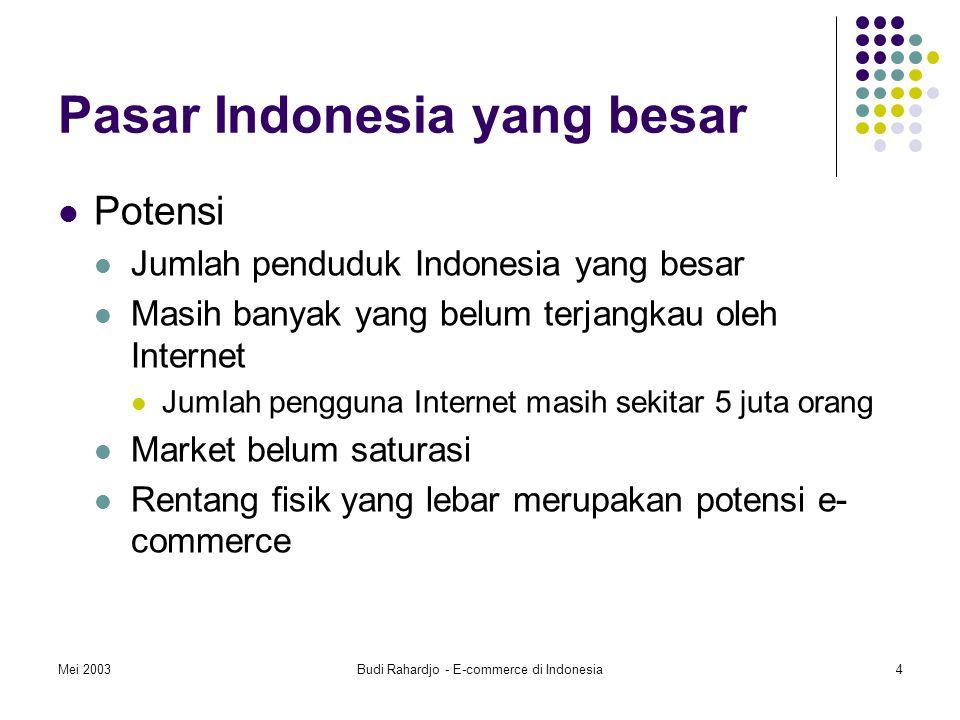 Mei 2003Budi Rahardjo - E-commerce di Indonesia4 Pasar Indonesia yang besar Potensi Jumlah penduduk Indonesia yang besar Masih banyak yang belum terjangkau oleh Internet Jumlah pengguna Internet masih sekitar 5 juta orang Market belum saturasi Rentang fisik yang lebar merupakan potensi e- commerce
