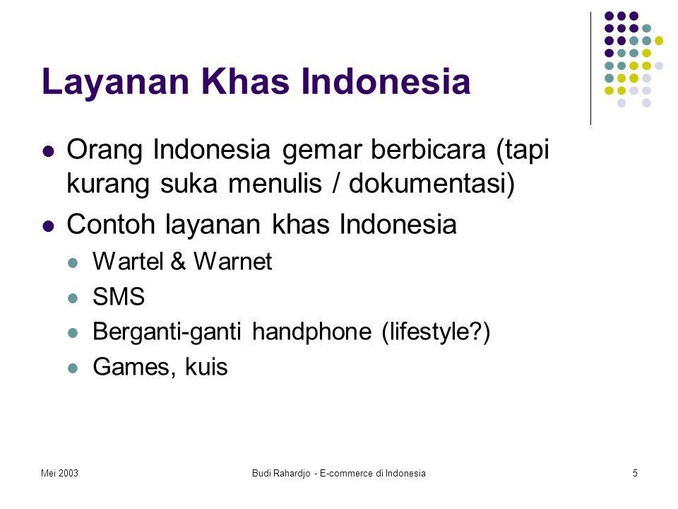 Mei 2003Budi Rahardjo - E-commerce di Indonesia5 Layanan Khas Indonesia Orang Indonesia gemar berbicara (tapi kurang suka menulis / dokumentasi) Contoh layanan khas Indonesia Wartel & Warnet SMS Berganti-ganti handphone (lifestyle?) Games, kuis