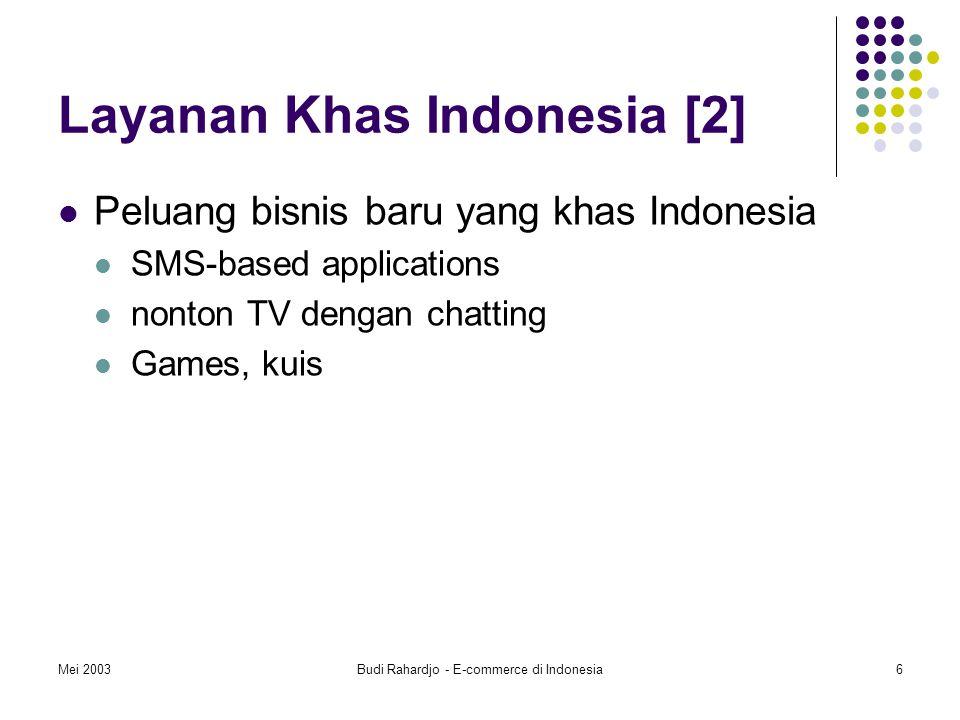 Mei 2003Budi Rahardjo - E-commerce di Indonesia6 Layanan Khas Indonesia [2] Peluang bisnis baru yang khas Indonesia SMS-based applications nonton TV dengan chatting Games, kuis