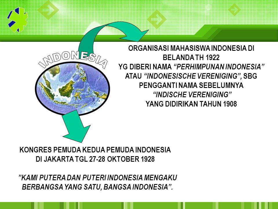 """KONGRES PEMUDA KEDUA PEMUDA INDONESIA DI JAKARTA TGL 27-28 OKTOBER 1928 """"KAMI PUTERA DAN PUTERI INDONESIA MENGAKU BERBANGSA YANG SATU, BANGSA INDONESI"""