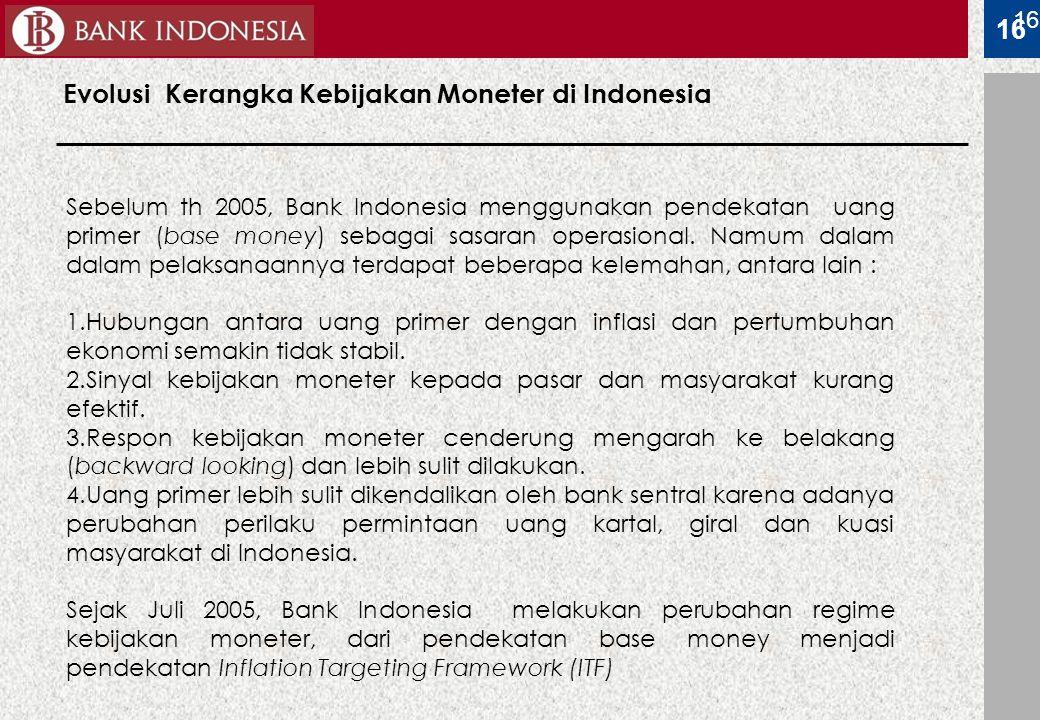 16 Evolusi Kerangka Kebijakan Moneter di Indonesia 16 Sebelum th 2005, Bank Indonesia menggunakan pendekatan uang primer (base money) sebagai sasaran