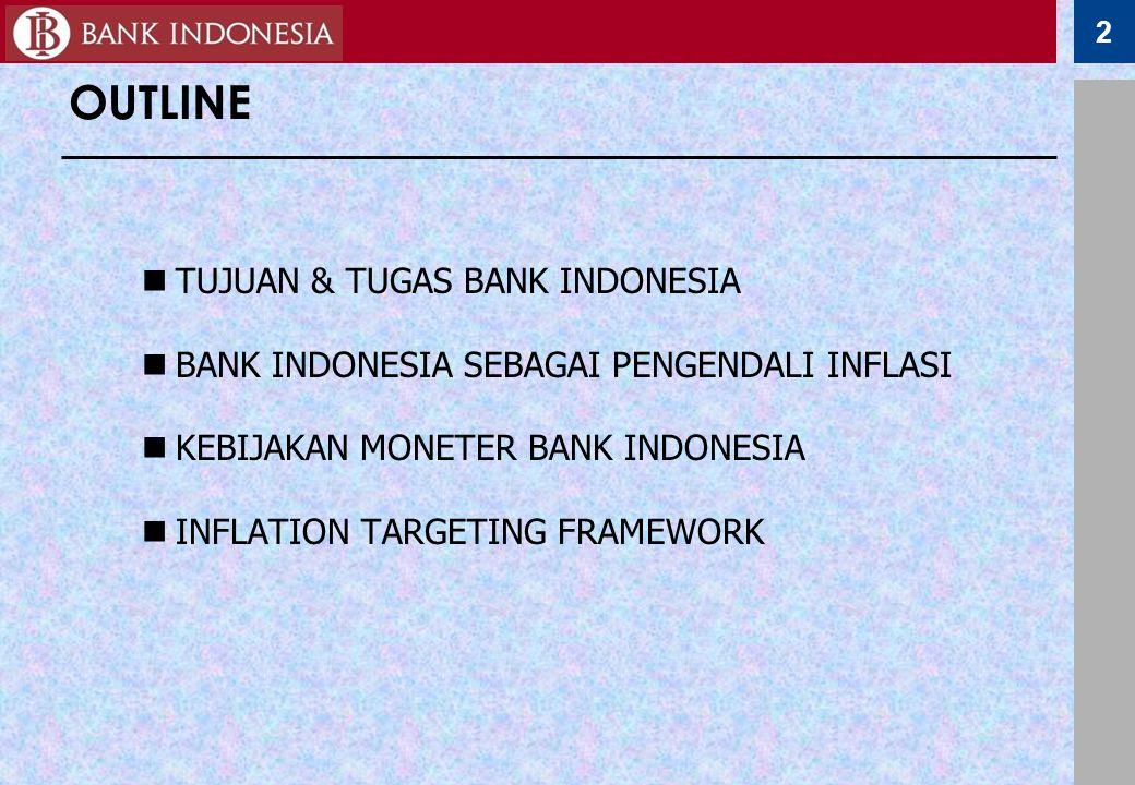 2 OUTLINE TUJUAN & TUGAS BANK INDONESIA BANK INDONESIA SEBAGAI PENGENDALI INFLASI KEBIJAKAN MONETER BANK INDONESIA INFLATION TARGETING FRAMEWORK