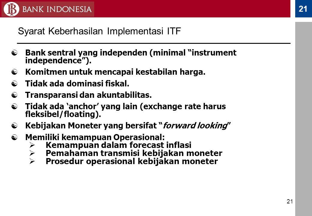 """21  Bank sentral yang independen (minimal """"instrument independence"""").  Komitmen untuk mencapai kestabilan harga.  Tidak ada dominasi fiskal.  Tran"""