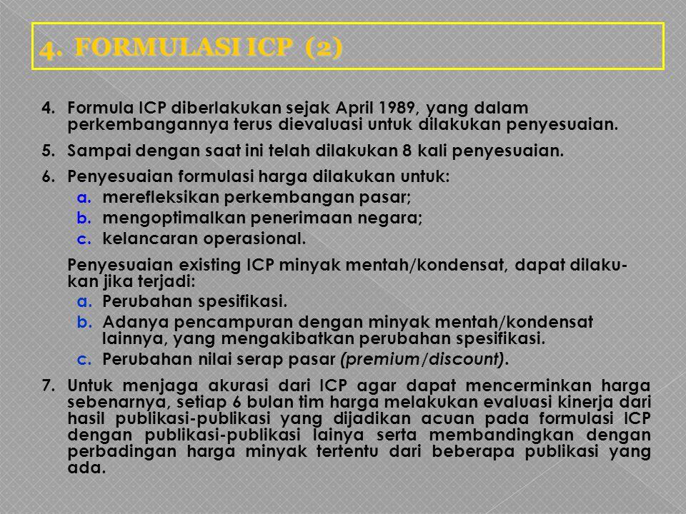 4.Formula ICP diberlakukan sejak April 1989, yang dalam perkembangannya terus dievaluasi untuk dilakukan penyesuaian. 5.Sampai dengan saat ini telah d