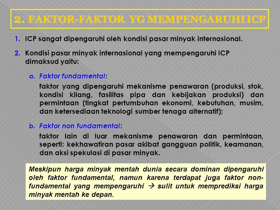 2. FAKTOR-FAKTOR YG MEMPENGARUHI ICP 1.ICP sangat dipengaruhi oleh kondisi pasar minyak internasional. 2.Kondisi pasar minyak internasional yang mempe
