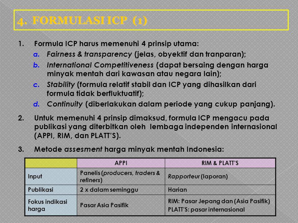 4.FORMULASI ICP (1) 1.Formula ICP harus memenuhi 4 prinsip utama: a. Fairness & transparency (jelas, obyektif dan tranparan); b. International Competi