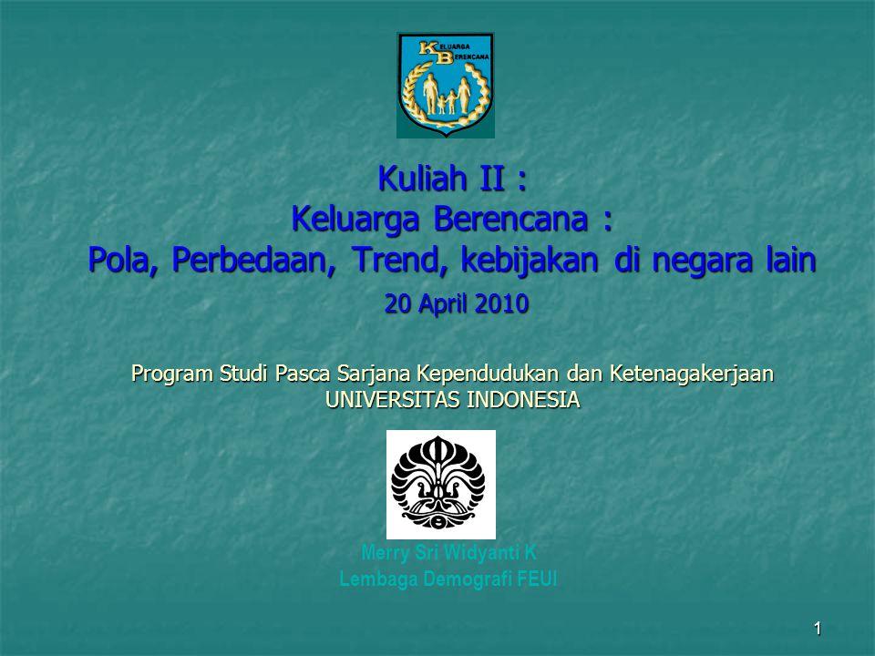 1 Kuliah II : Keluarga Berencana : Pola, Perbedaan, Trend, kebijakan di negara lain 20 April 2010 Program Studi Pasca Sarjana Kependudukan dan Ketenag