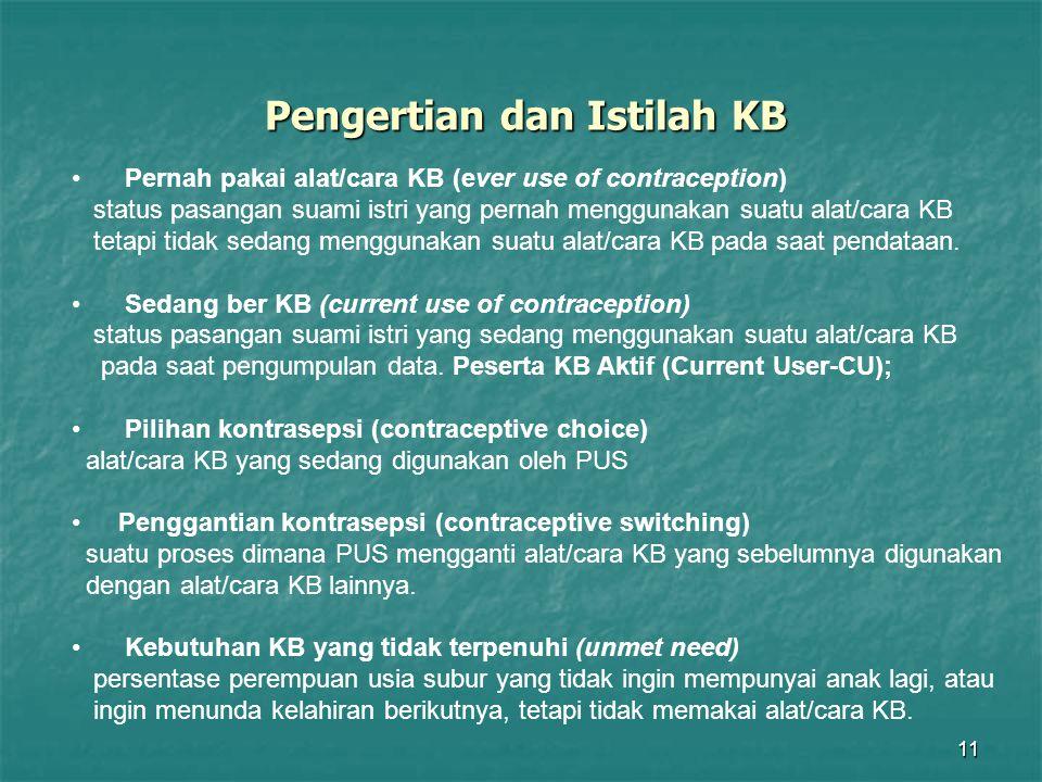 11 Pengertian dan Istilah KB Pengertian dan Istilah KB Pernah pakai alat/cara KB (ever use of contraception) status pasangan suami istri yang pernah m