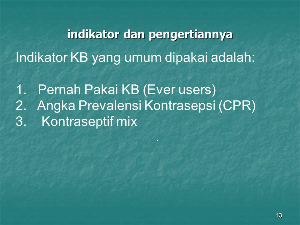 13 indikator dan pengertiannya. Indikator KB yang umum dipakai adalah: 1. Pernah Pakai KB (Ever users) 2. Angka Prevalensi Kontrasepsi (CPR) 3. Kontra