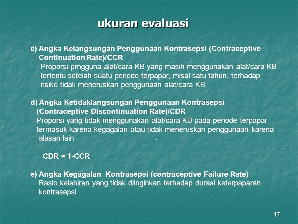 17 ukuran evaluasi. c) Angka Kelangsungan Penggunaan Kontrasepsi (Contraceptive Continuation Rate)/CCR Proporsi prngguna alat/cara KB yang masih mengg