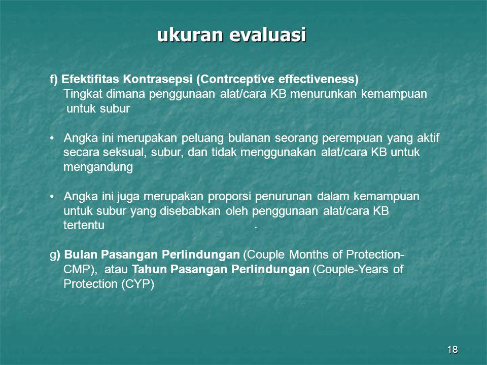 18 ukuran evaluasi. f) Efektifitas Kontrasepsi (Contrceptive effectiveness) Tingkat dimana penggunaan alat/cara KB menurunkan kemampuan untuk subur An