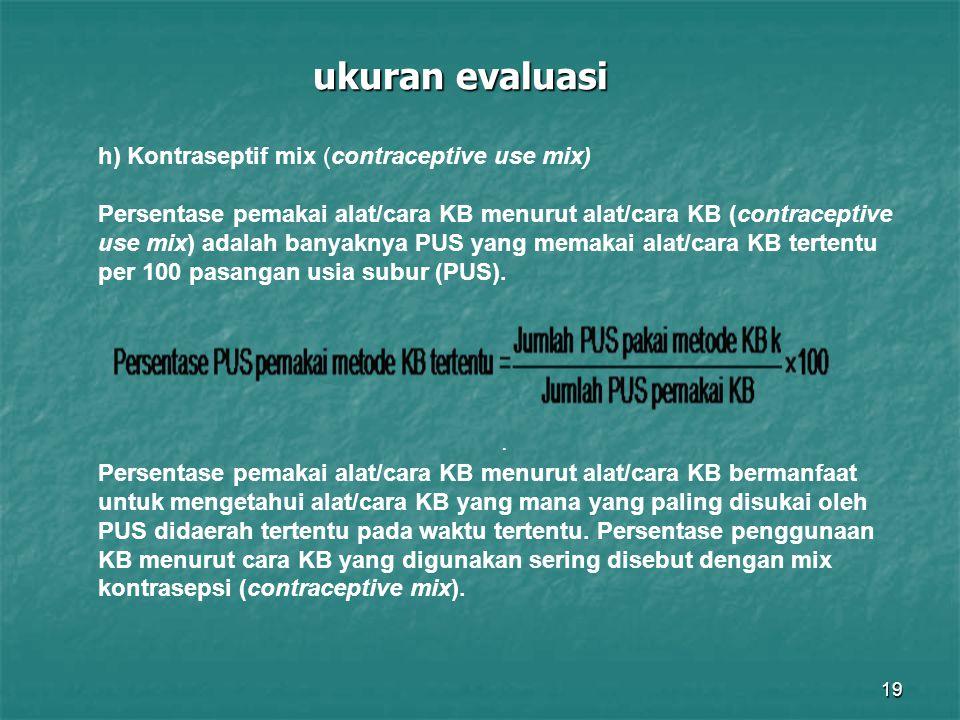 19 ukuran evaluasi. h) Kontraseptif mix (contraceptive use mix) Persentase pemakai alat/cara KB menurut alat/cara KB (contraceptive use mix) adalah ba