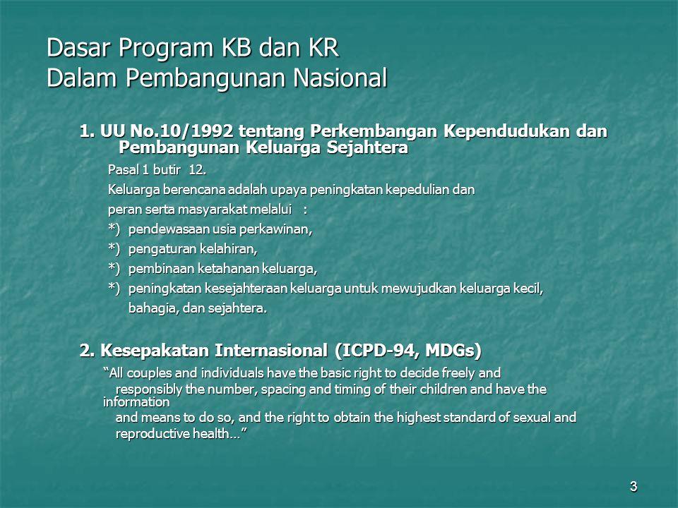 3 Dasar Program KB dan KR Dalam Pembangunan Nasional 1. UU No.10/1992 tentang Perkembangan Kependudukan dan Pembangunan Keluarga Sejahtera Pasal 1 but