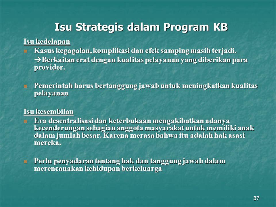 37 Isu Strategis dalam Program KB Isu kedelapan Kasus kegagalan, komplikasi dan efek samping masih terjadi. Kasus kegagalan, komplikasi dan efek sampi
