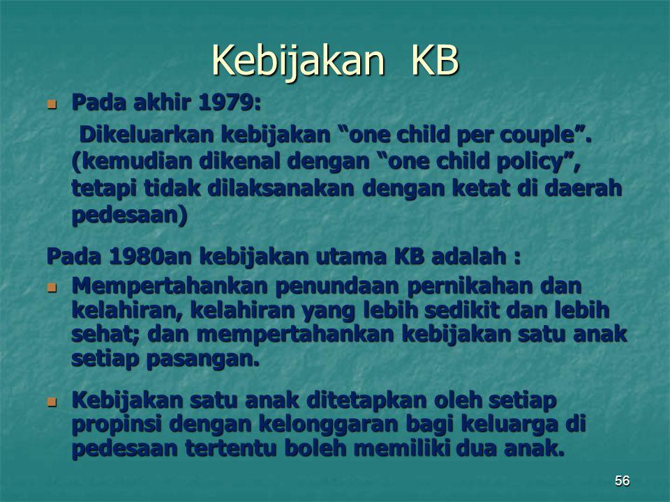"""56 Pada akhir 1979: Pada akhir 1979: Dikeluarkan kebijakan """"one child per couple"""". (kemudian dikenal dengan """"one child policy"""", tetapi tidak dilaksana"""