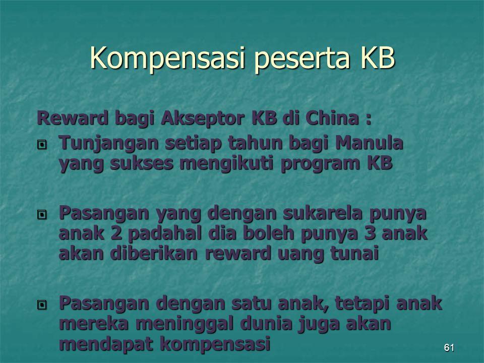 61 Kompensasi peserta KB Reward bagi Akseptor KB di China :  Tunjangan setiap tahun bagi Manula yang sukses mengikuti program KB  Pasangan yang deng