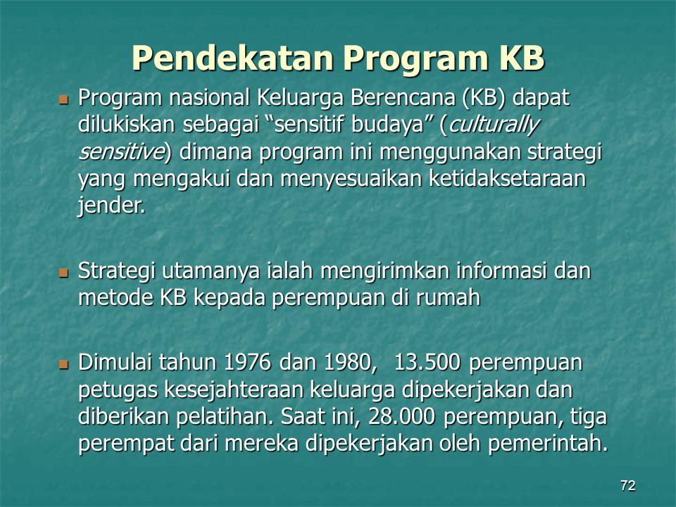 """72 Pendekatan Program KB Program nasional Keluarga Berencana (KB) dapat dilukiskan sebagai """"sensitif budaya"""" (culturally sensitive) dimana program ini"""