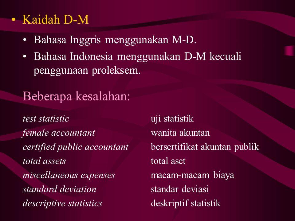 Kaidah D-M Bahasa Inggris menggunakan M-D.