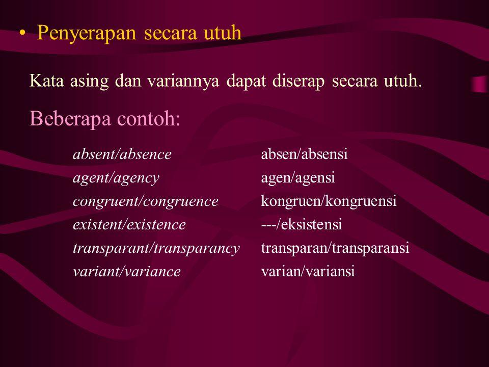 Penyerapan secara utuh Beberapa contoh: Kata asing dan variannya dapat diserap secara utuh.