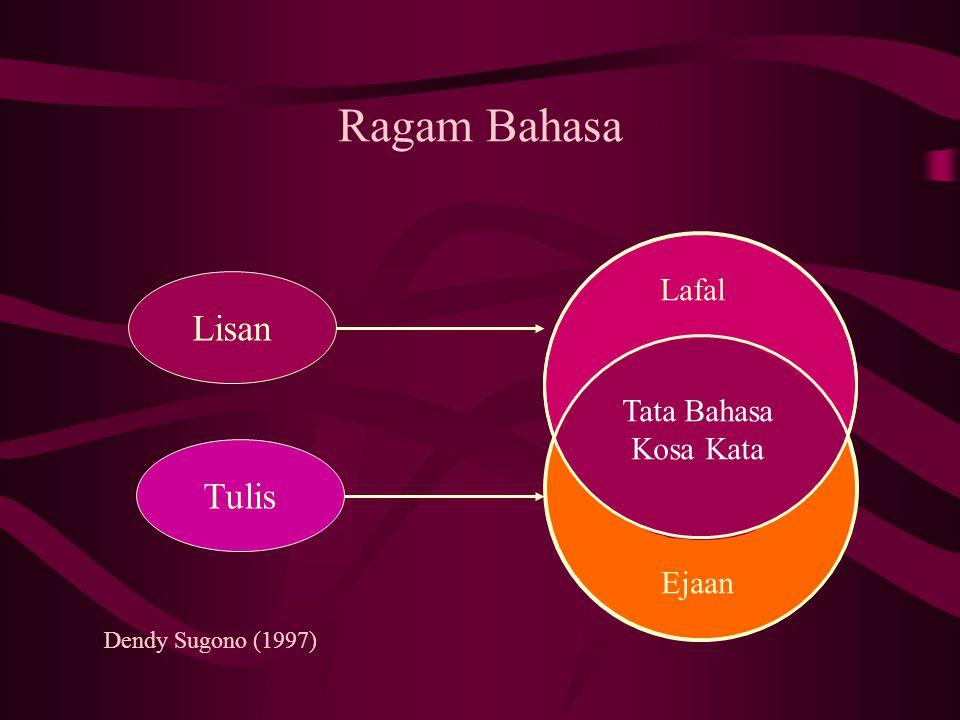 Ragam Bahasa Lisan Tulis Lafal Tata Bahasa Kosa Kata Ejaan Dendy Sugono (1997)