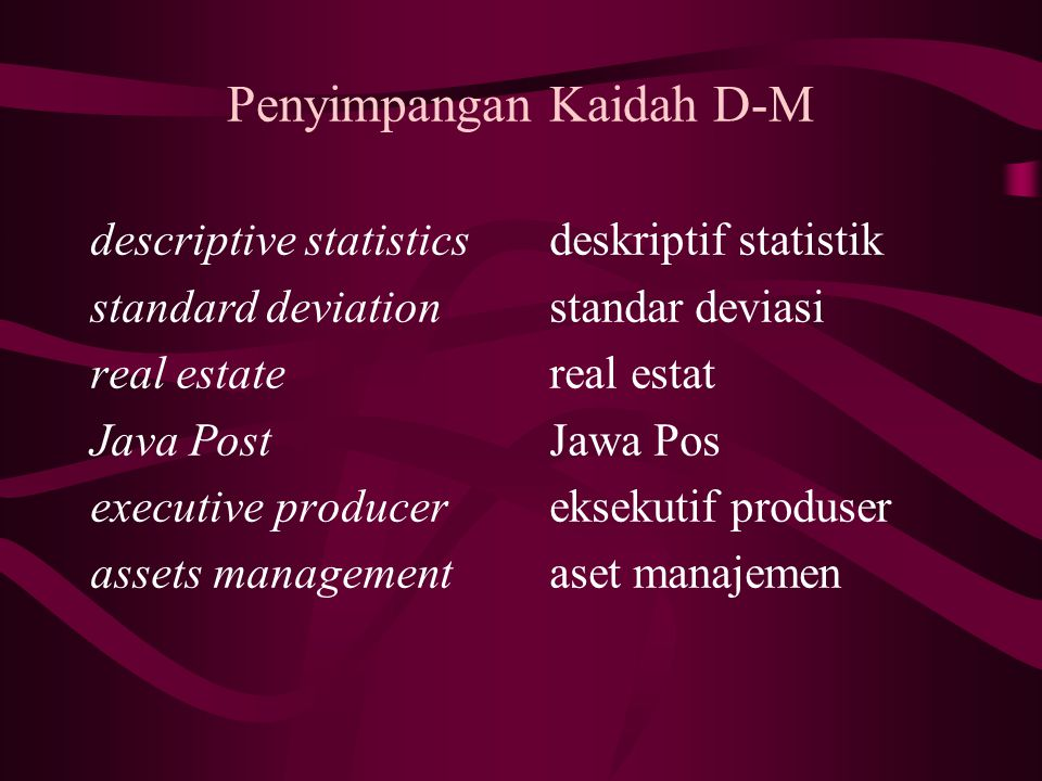 Penyimpangan Kaidah D-M descriptive statistics standard deviation real estate Java Post executive producer assets management deskriptif statistik standar deviasi real estat Jawa Pos eksekutif produser aset manajemen