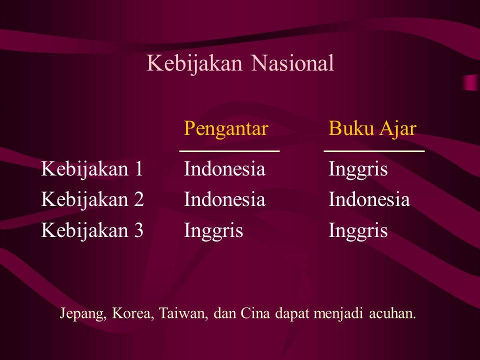 Kebijakan Nasional Pengantar Indonesia Inggris Buku Ajar Inggris Indonesia Inggris Kebijakan 1 Kebijakan 2 Kebijakan 3 Jepang, Korea, Taiwan, dan Cina dapat menjadi acuhan.