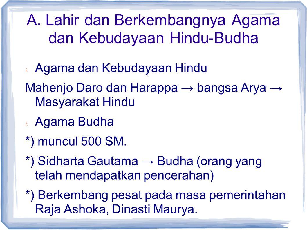 A. Lahir dan Berkembangnya Agama dan Kebudayaan Hindu-Budha Agama dan Kebudayaan Hindu Mahenjo Daro dan Harappa → bangsa Arya → Masyarakat Hindu Agama