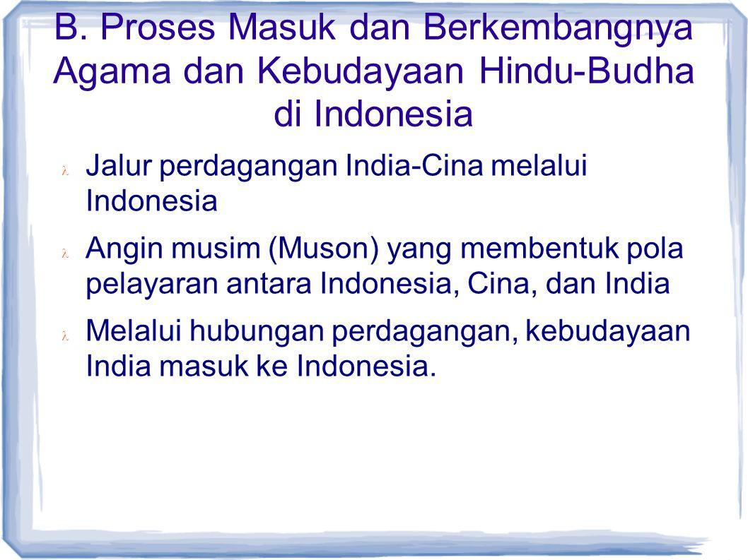 B. Proses Masuk dan Berkembangnya Agama dan Kebudayaan Hindu-Budha di Indonesia Jalur perdagangan India-Cina melalui Indonesia Angin musim (Muson) yan