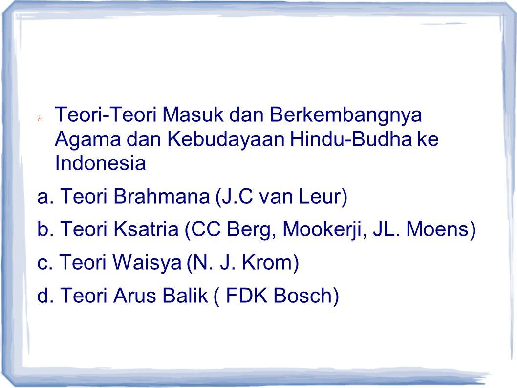 Teori-Teori Masuk dan Berkembangnya Agama dan Kebudayaan Hindu-Budha ke Indonesia a. Teori Brahmana (J.C van Leur) b. Teori Ksatria (CC Berg, Mookerji