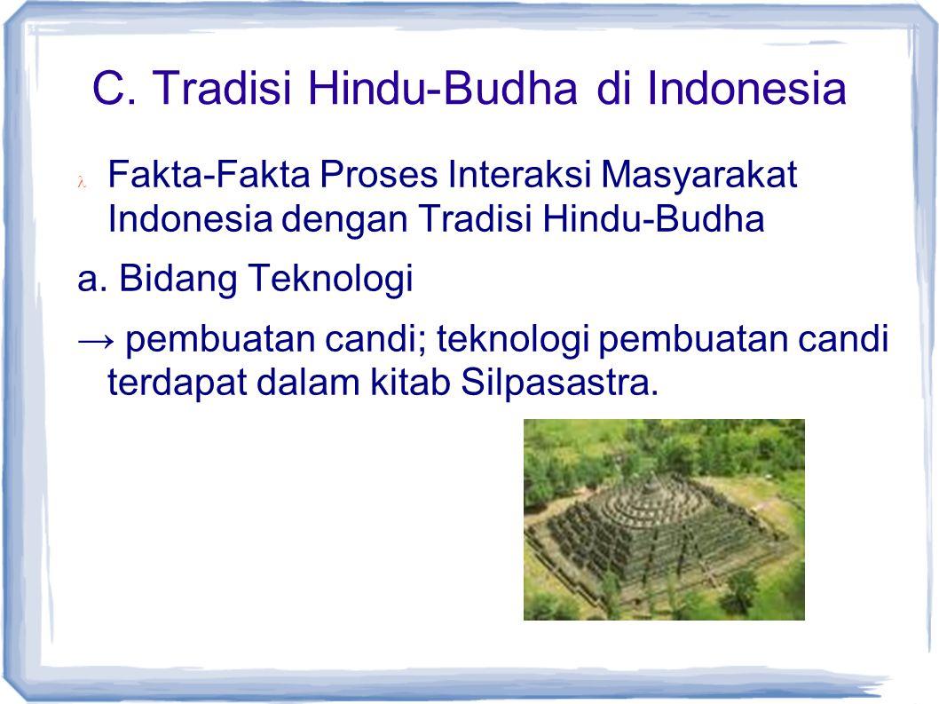 C. Tradisi Hindu-Budha di Indonesia Fakta-Fakta Proses Interaksi Masyarakat Indonesia dengan Tradisi Hindu-Budha a. Bidang Teknologi → pembuatan candi