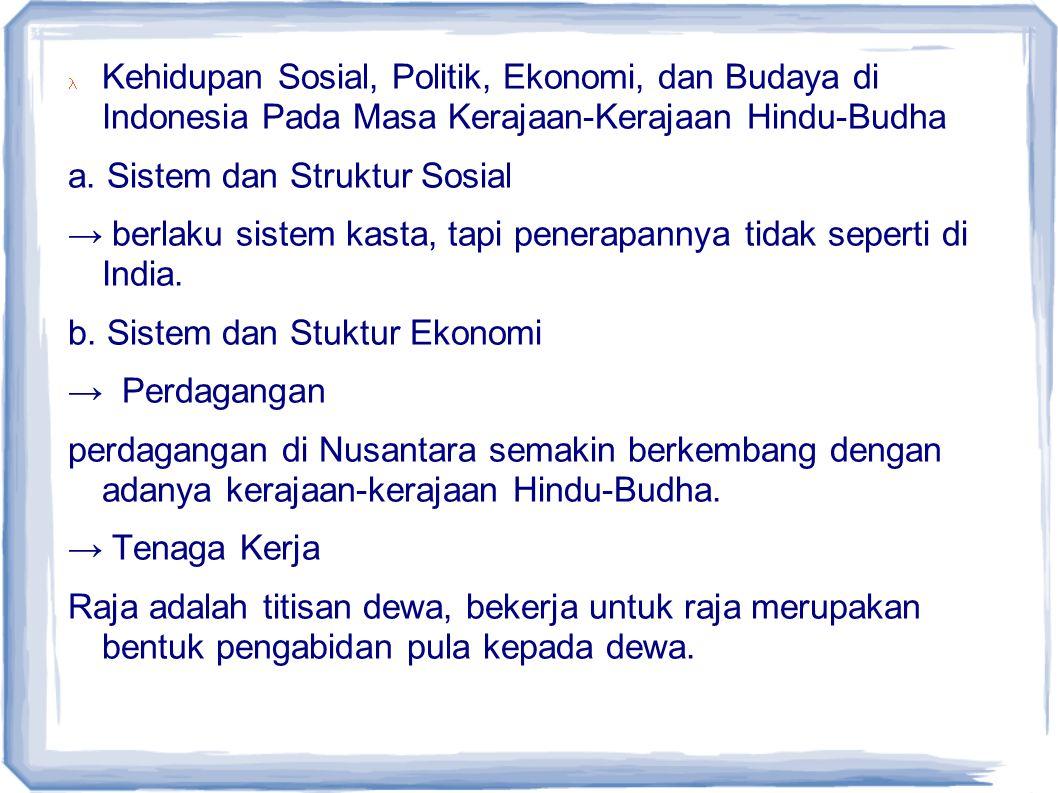 Kehidupan Sosial, Politik, Ekonomi, dan Budaya di Indonesia Pada Masa Kerajaan-Kerajaan Hindu-Budha a. Sistem dan Struktur Sosial → berlaku sistem kas