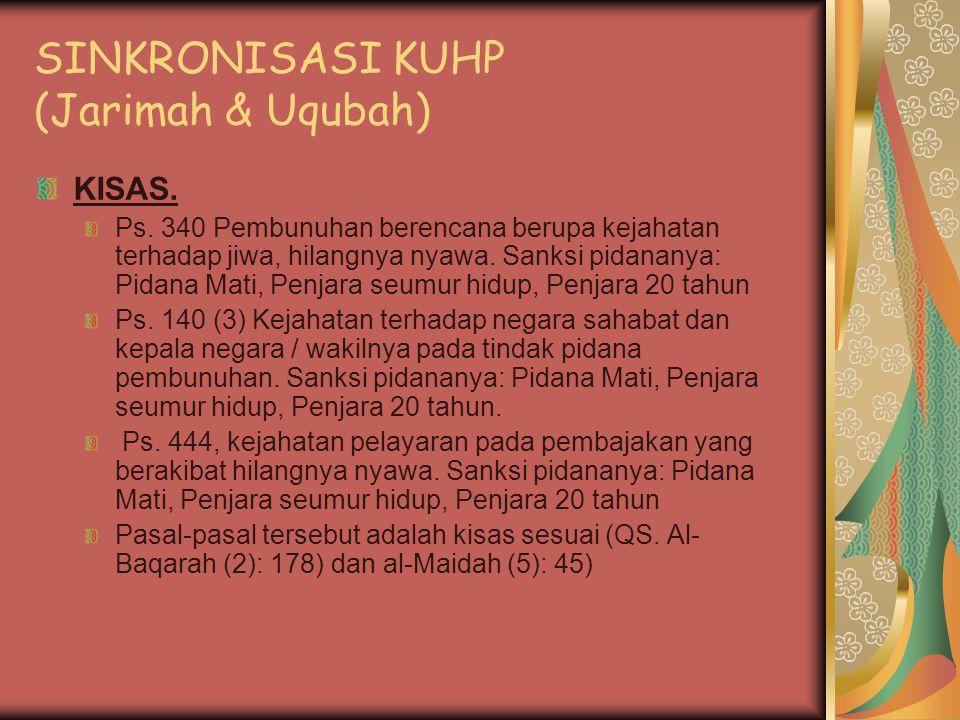 SINKRONISASI KUHP (Jarimah & Uqubah) KISAS.Ps.