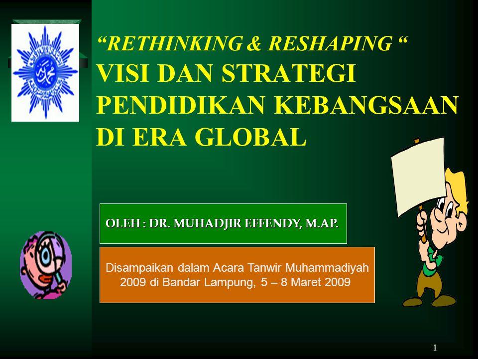 "1 ""RETHINKING & RESHAPING "" VISI DAN STRATEGI PENDIDIKAN KEBANGSAAN DI ERA GLOBAL Disampaikan dalam Acara Tanwir Muhammadiyah 2009 di Bandar Lampung,"