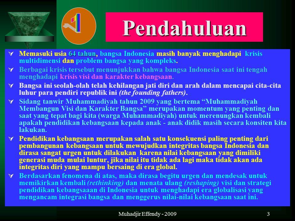 Muhadjir Effendy - 20093 Pendahuluan 64 tahun  Memasuki usia 64 tahun, bangsa Indonesia masih banyak menghadapi krisis multidimensi dan problem bangs
