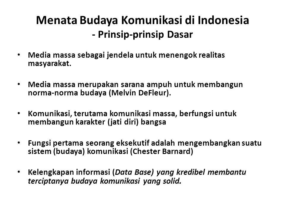Menata Budaya Komunikasi di Indonesia - Prinsip-prinsip Dasar Media massa sebagai jendela untuk menengok realitas masyarakat. Media massa merupakan sa