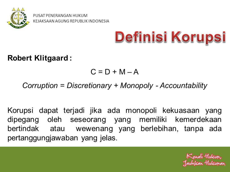 Robert Klitgaard : C = D + M – A Corruption = Discretionary + Monopoly - Accountability Korupsi dapat terjadi jika ada monopoli kekuasaan yang dipegan