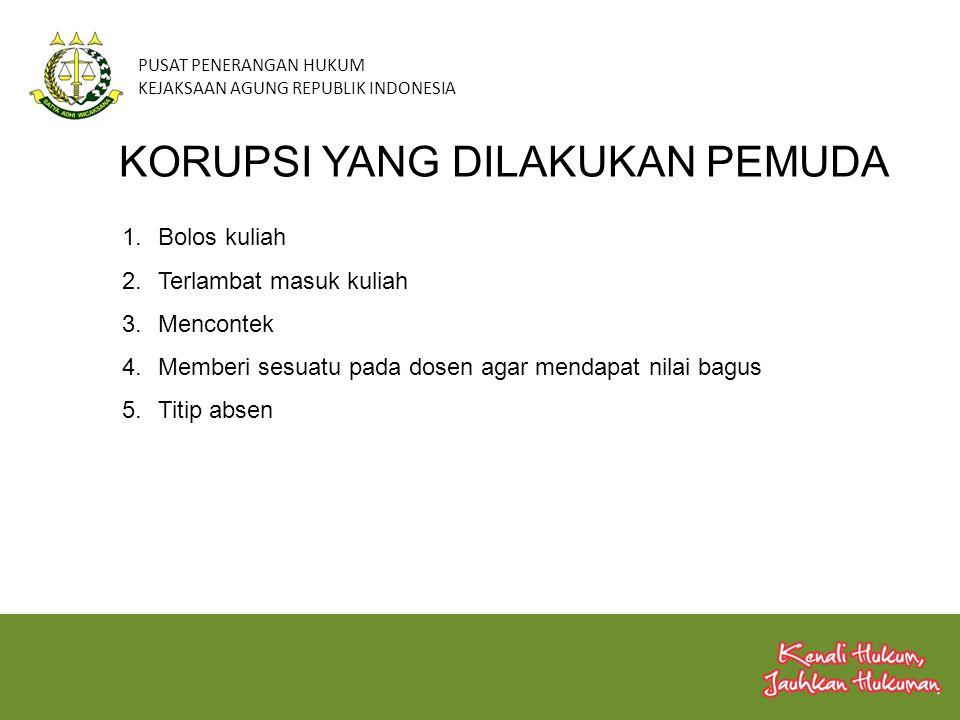 PUSAT PENERANGAN HUKUM KEJAKSAAN AGUNG REPUBLIK INDONESIA KORUPSI YANG DILAKUKAN PEMUDA 1.Bolos kuliah 2.Terlambat masuk kuliah 3.Mencontek 4.Memberi
