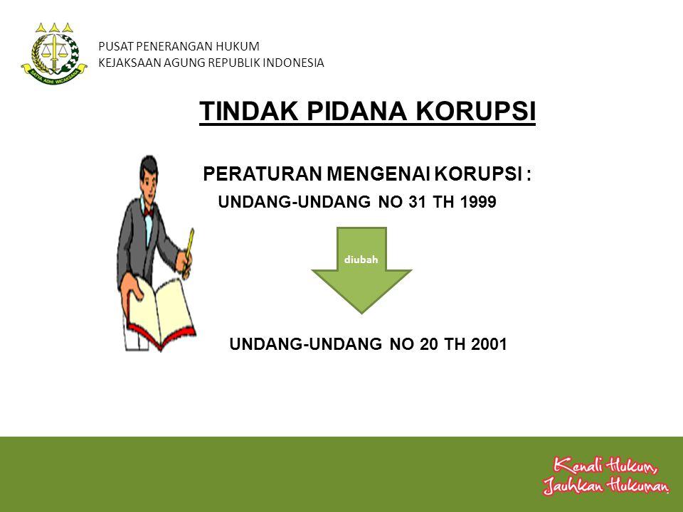 PUSAT PENERANGAN HUKUM KEJAKSAAN AGUNG REPUBLIK INDONESIA UNDANG-UNDANG NO 20 TH 2001 TINDAK PIDANA KORUPSI PERATURAN MENGENAI KORUPSI : UNDANG-UNDANG