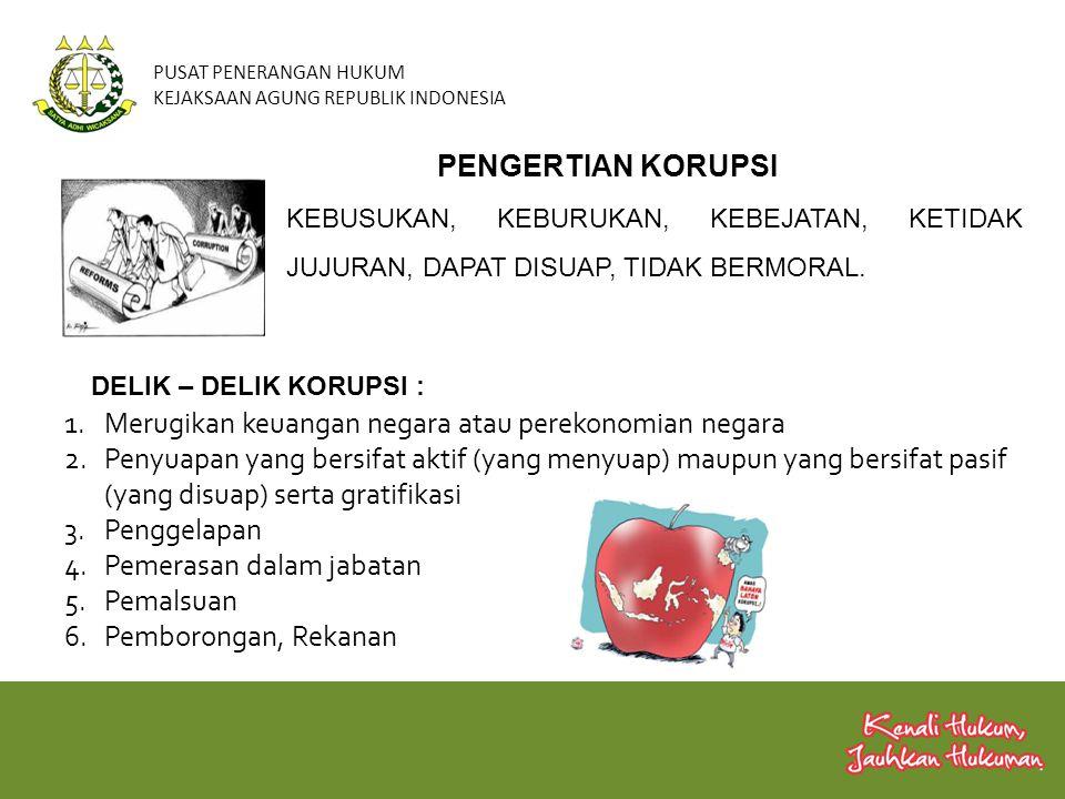 PUSAT PENERANGAN HUKUM KEJAKSAAN AGUNG REPUBLIK INDONESIA Penyuapan 1 Konflik Kepentingan 2 Penggelapan 3 Kecurangan 4 Pemerasan 5 Kerugian Negara 6 Gratifikasi 7