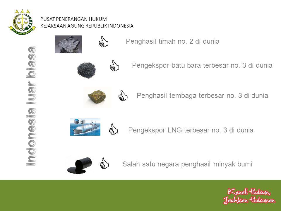 PUSAT PENERANGAN HUKUM KEJAKSAAN AGUNG REPUBLIK INDONESIA Penghasil timah no. 2 di dunia Pengekspor batu bara terbesar no. 3 di dunia Penghasil tembag