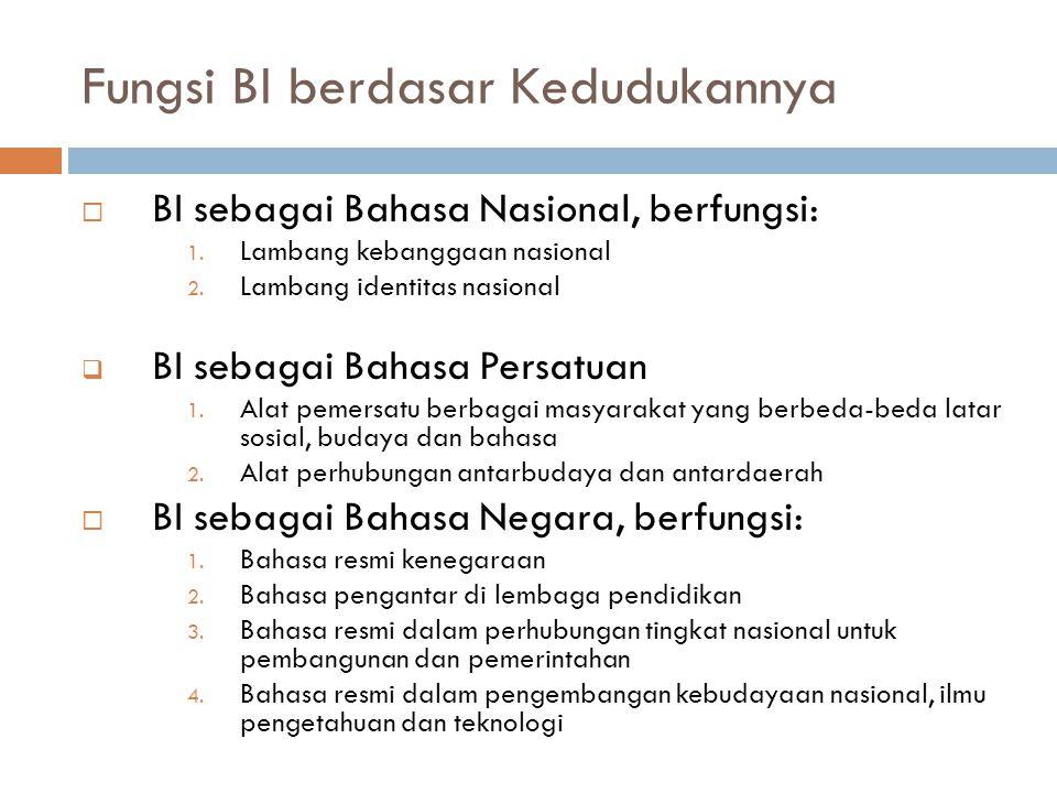 Fungsi BI berdasar Kedudukannya  BI sebagai Bahasa Nasional, berfungsi: 1. Lambang kebanggaan nasional 2. Lambang identitas nasional  BI sebagai Bah