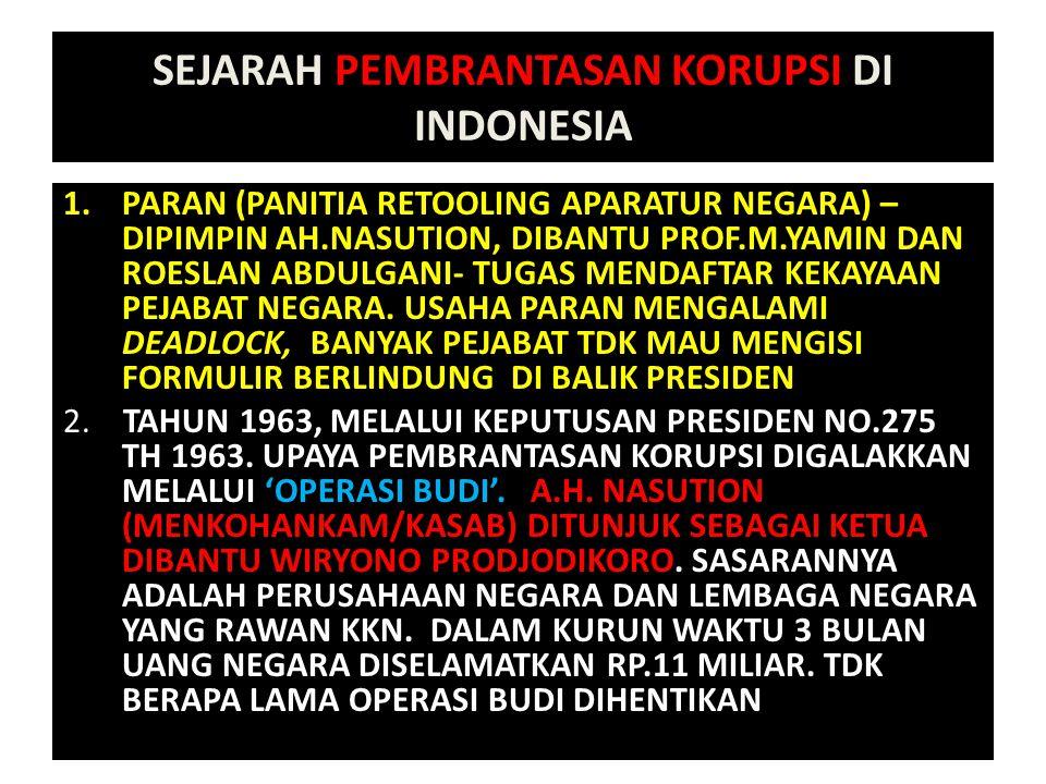 SEJARAH PEMBRANTASAN KORUPSI DI INDONESIA 1.PARAN (PANITIA RETOOLING APARATUR NEGARA) – DIPIMPIN AH.NASUTION, DIBANTU PROF.M.YAMIN DAN ROESLAN ABDULGA