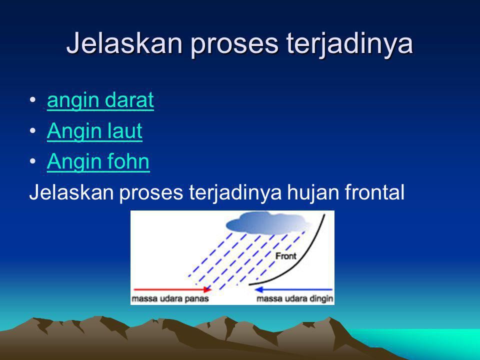 Jelaskan proses terjadinya angin darat Angin laut Angin fohn Jelaskan proses terjadinya hujan frontal