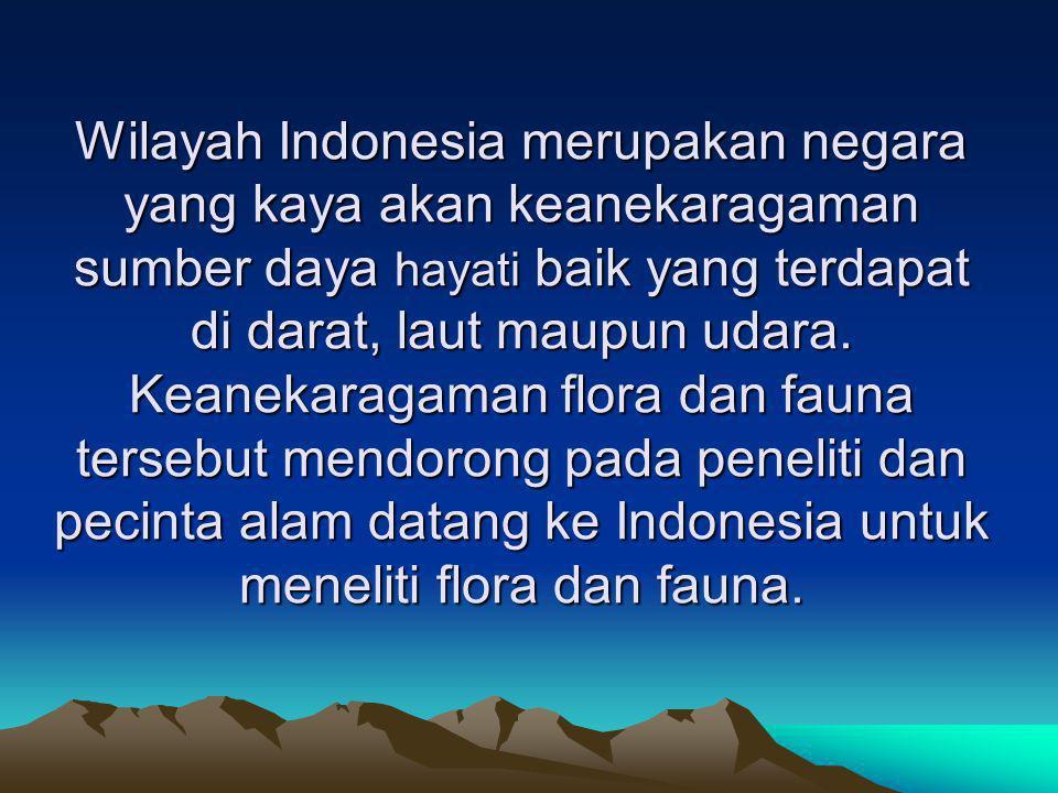 Wilayah Indonesia merupakan negara yang kaya akan keanekaragaman sumber daya hayati baik yang terdapat di darat, laut maupun udara. Keanekaragaman flo